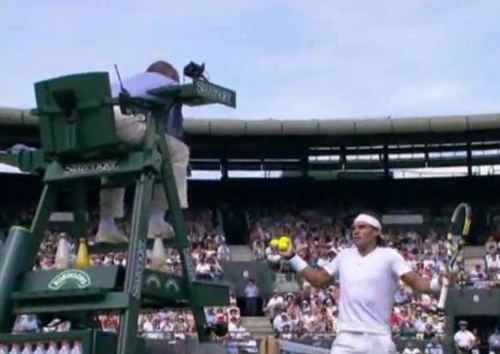 Rafa Nadal argues chair umpire Pascal Wimbledon match tennis balls white kit arms outstretched pictures images photos screencaps