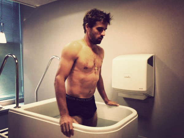 Arnaud Clement ice bath pictures black underwear underpants pants muscles hair