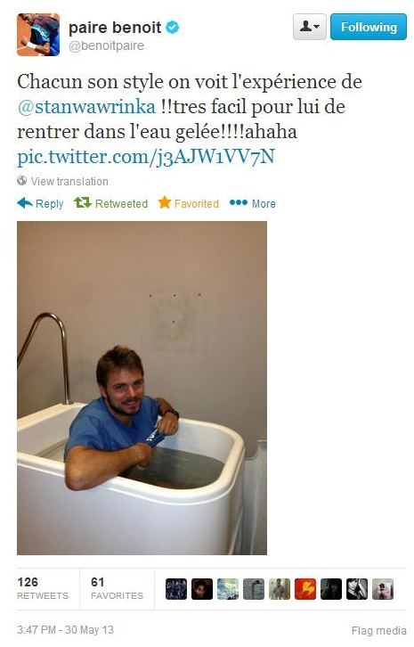Stan ice  bath tweet by Benoit RG 2013