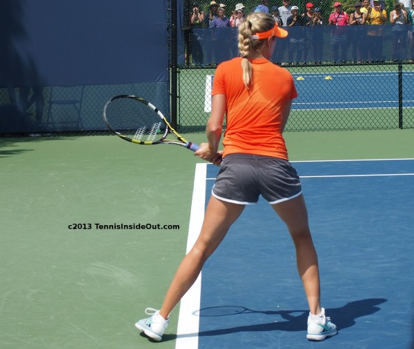 Eugenie Bouchard Cincinnati Western and Southern Open practice sexy ass behind butt thighs long legs backhand swing blonde braid