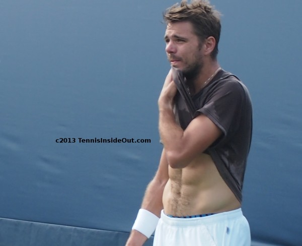 Stanislas Stan Wawrinka gorgeous abs bare naked tummy stomach shirtless sweaty hot Stanley white shorts treasure trail hairy fuzzy photos