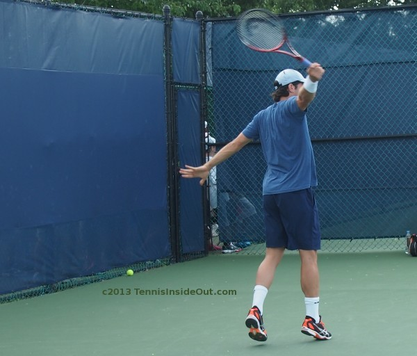 Tommy Haas backhand extension follow through graceful arms hands great lift Cincinnati Open practice with coach Saturday 2013 August