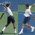 Roger Federer Cincinnati Masters 2012 Grigor Dimitrov Western and Southern Open 2011 arching one-handed backhand follow through white shirt navy blue shorts Nike Wilson racquet pictures photos images