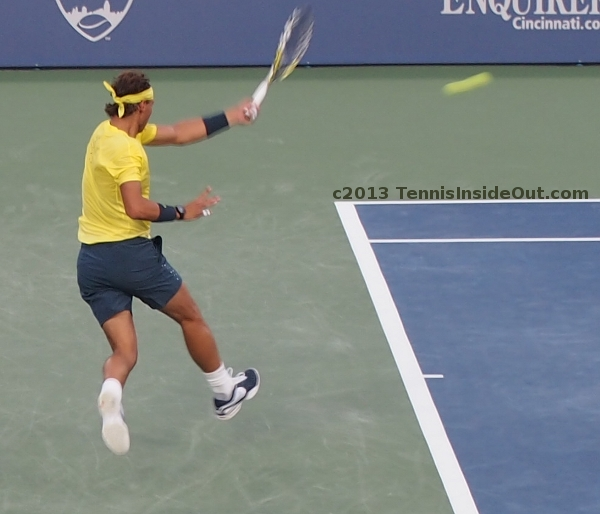 Rafa Nadal running power forehand airborne yellow shirt sexy hit tennis photos Cincy