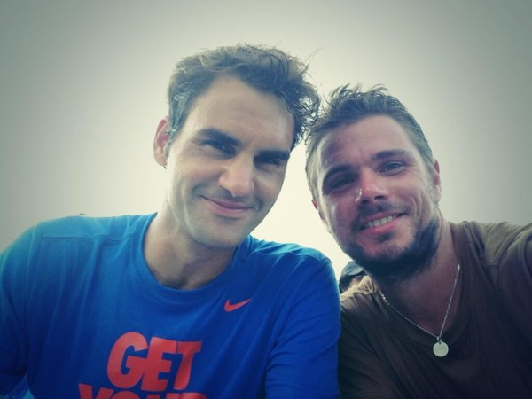 Roger Federer Stan Wawrinka tweet picture Cincy 2013 photos