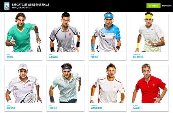 World Tour Finals players official photos Rafael Nadal Novak Djokovic David Ferrer Juan Martin del Potro Tomas Berdych Roger Federer Stanislas Wawrinka Richard Gasquet