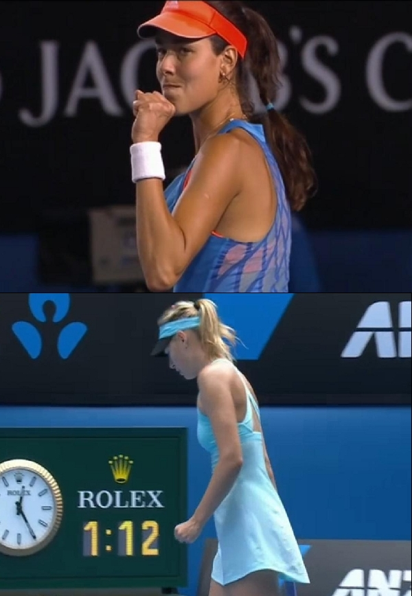 Ana Ivanovic Maria Sharapova  fistpumps fist clenched little hands blue dress Australian Open 2014