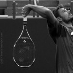 Stan Wawrinka black and white photos by Valerie David overhead smash Yonex racquet pictures images