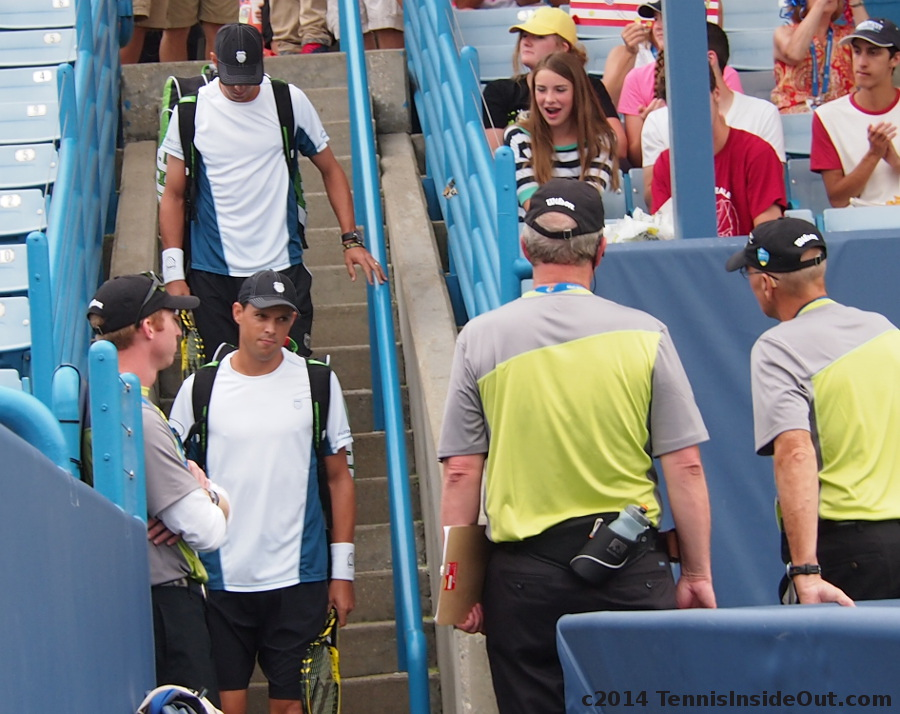 Mike and Bob Bryan entering Grandstand Court Cincy