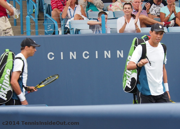 Bob and Mike Bryan on Grandstand Court Western and Southern Open