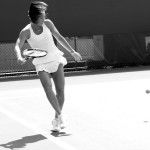 Jelena Jankovic dancing backward forehand shot white ruffled Fila dress ponytail Cincy