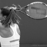 Western and Southern Open premiere backhand swing Jelena Jankovic Prince racquet black and white pontytail