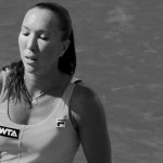 Sweaty Jelena Jankovic Cincinnati match against Sloane Stephens cleavage boobs breasts biceps tight ponytail black and white photos pictures images screencaps