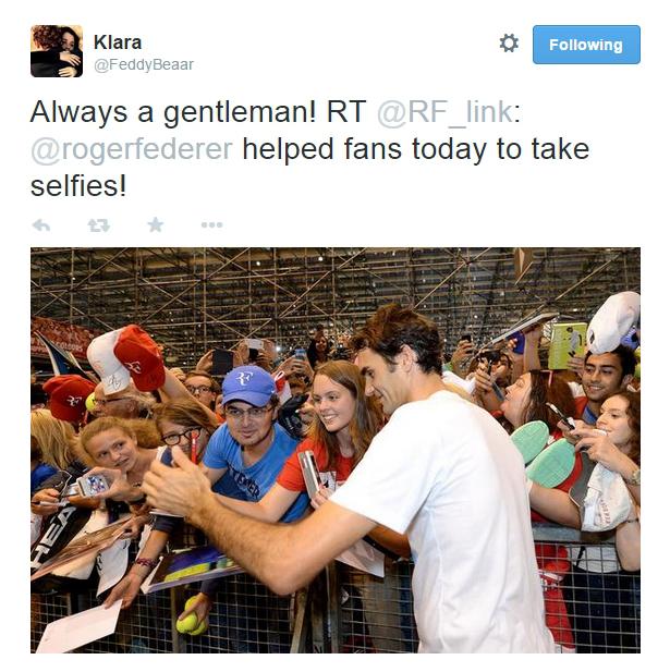 Davis Cup huge crowd fans Roger Federer selfies phone pics Italy Geneva