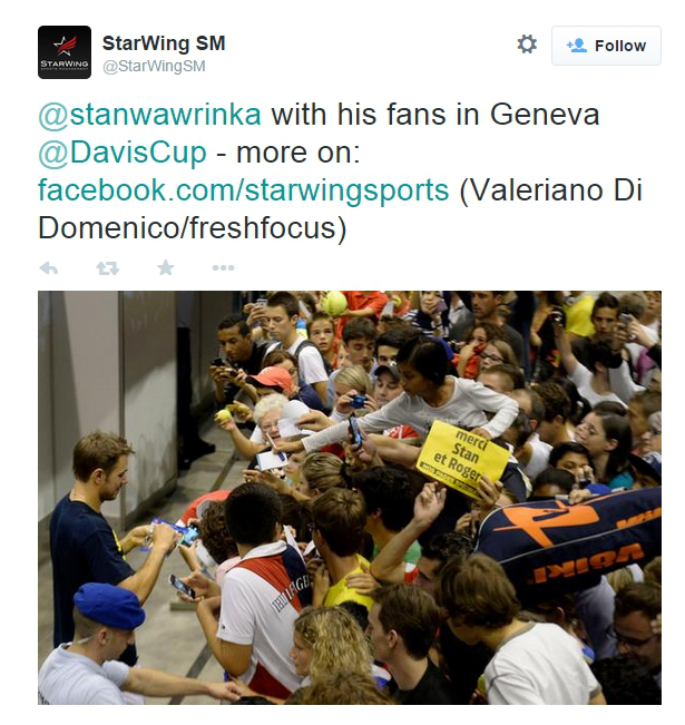 Stan Wawrinka fans signing autographs huge crowd Geneva Switzerland photos