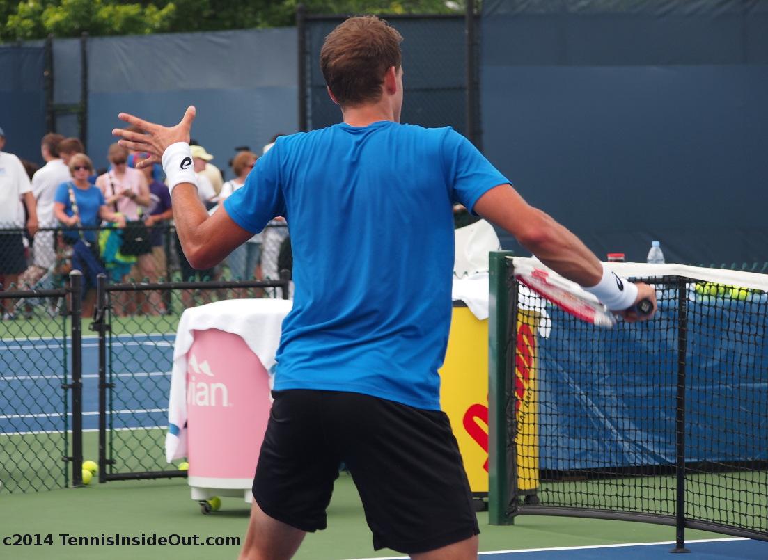 Vasek Pospisil backhand slice volley practice Cincy tennis Western and Southern Open Masters series tennis cute