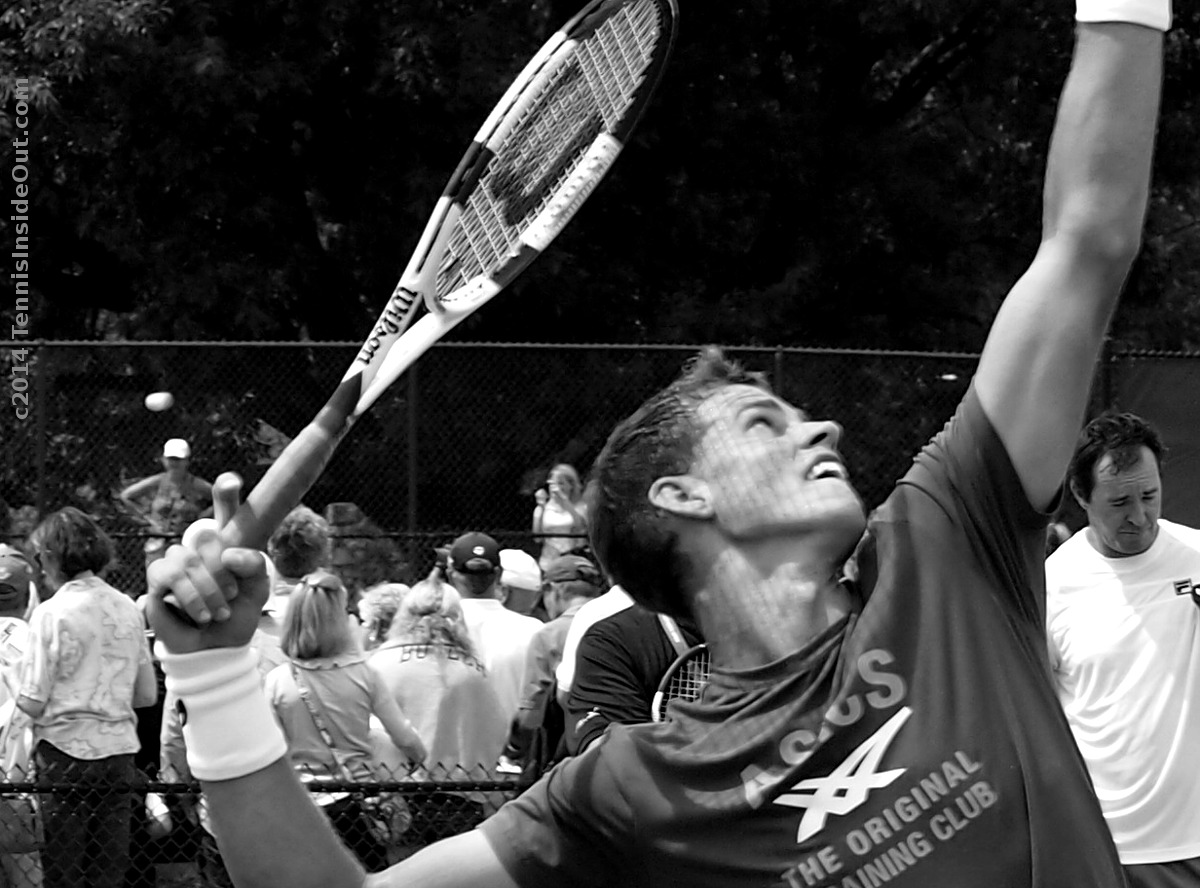 Black and white photo Vashy Pospisil Popsicle string grid shadow pattern cool pics tennis Cincy 2014