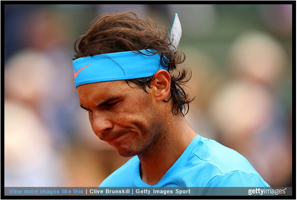 Rafael Nadal Rafa grimace Roland Garros French Open blue shirt bandana annoyed pics photos