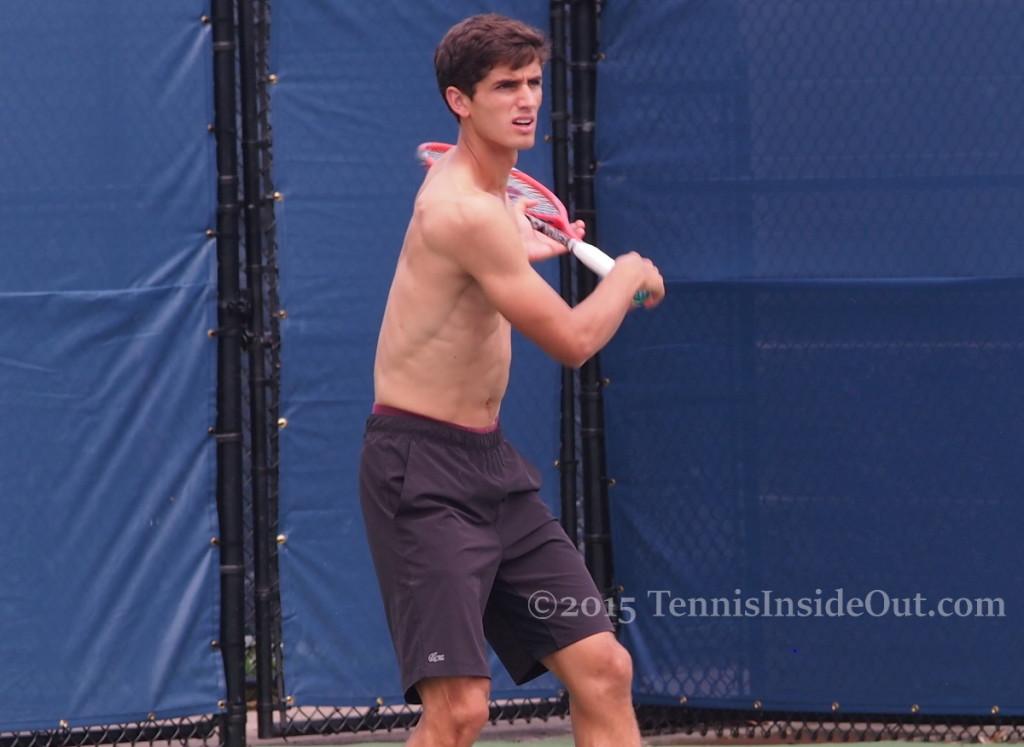 Cincinnati Western and Southern Open practice shirtless Pierre-Hugues Herbert ab muscles ribs biceps shoulders skinny black shorts