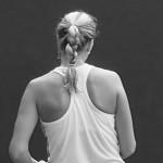 Petra Kvitova shoulders racer back top blonde ginger braid black white photos Cincy premier tennis