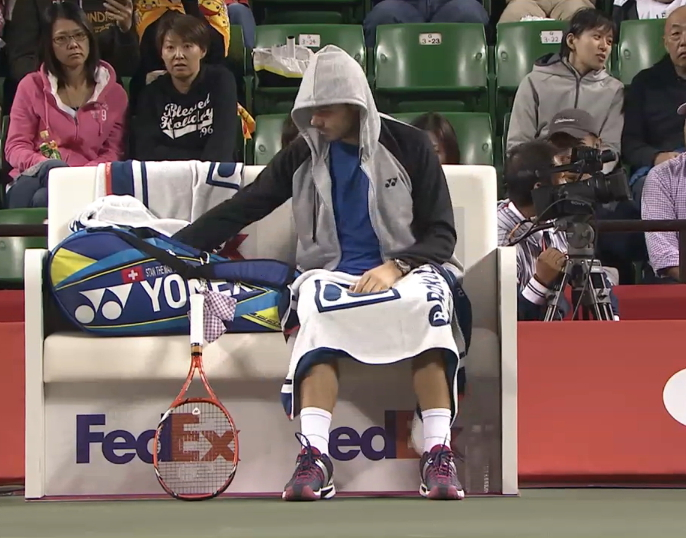 Japan tennis second round changeover Stan in hoodie pics