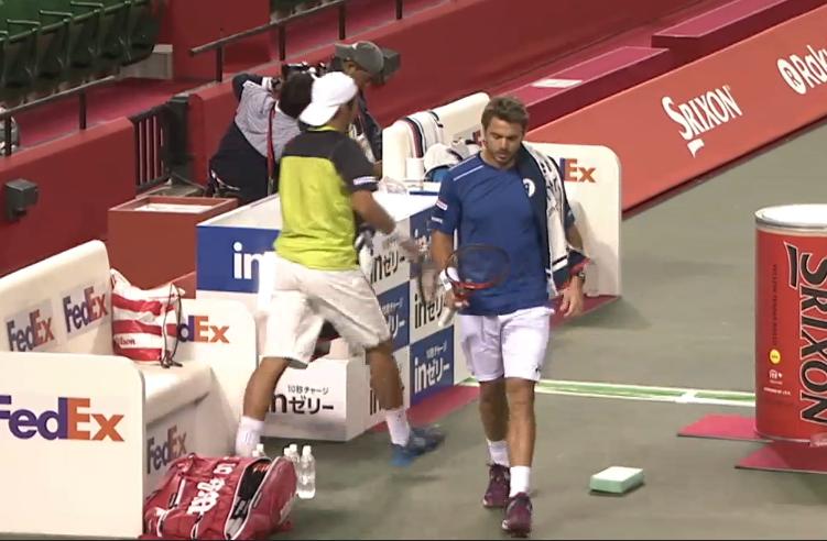 Ito Wawrinka changeover Japan Open