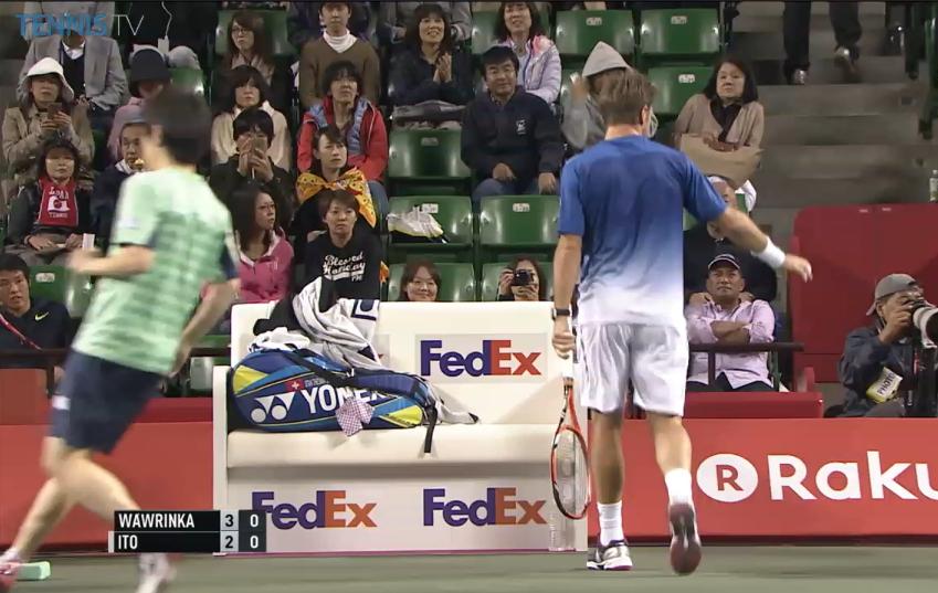 Stan change walking to bench waiting for towel