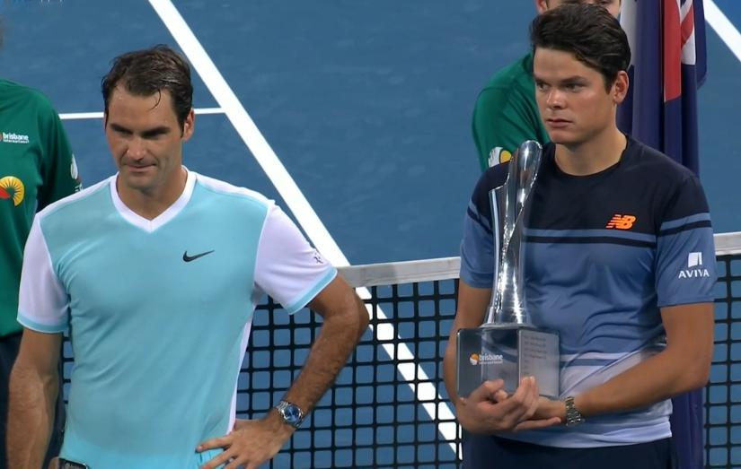 Roger Federer Milos Raonic trophy ceremony Australia